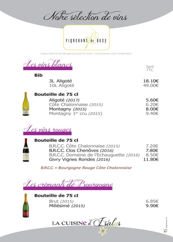 Carte Vins Buxy La Cuisine d'Isalys